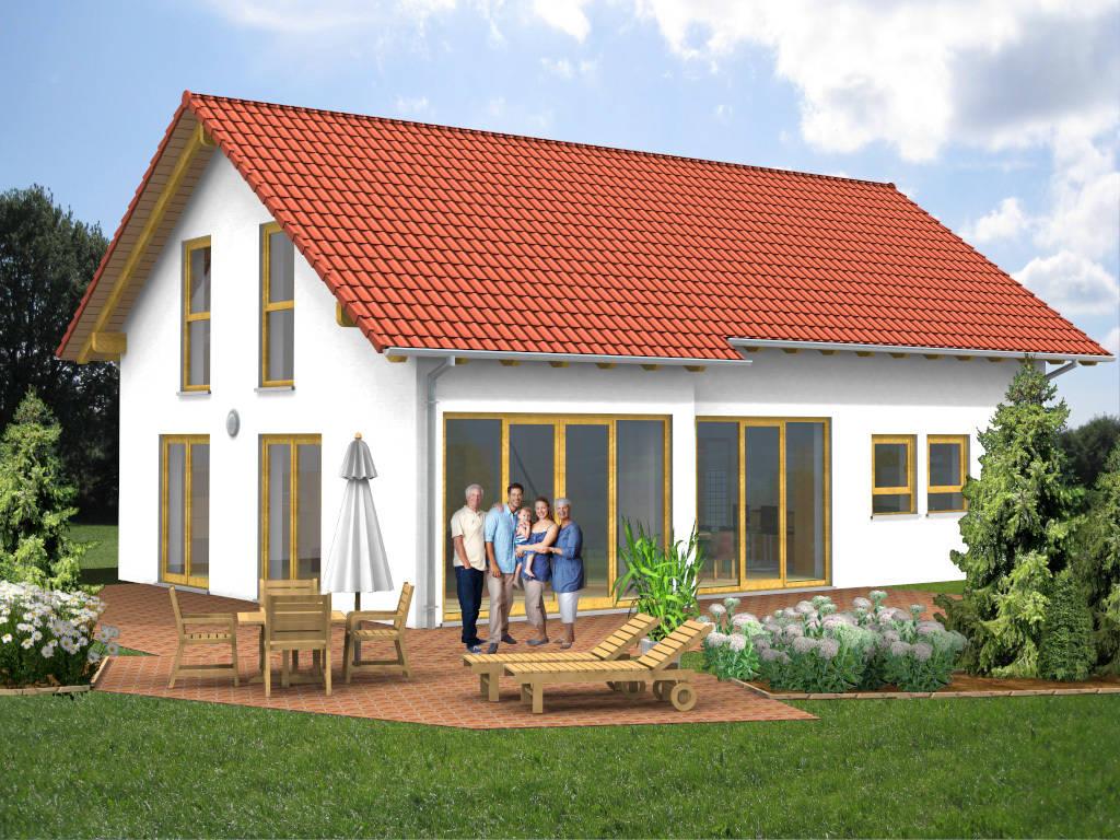 Holzhaus Satteldach Fertighaus 143qm