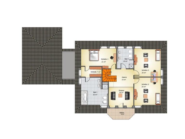 Villa Blankenese Grundriss DG - IBIS Haus