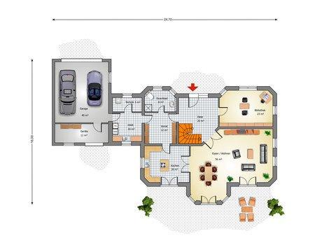 Villa Blankenese Grundriss EG - IBIS Haus
