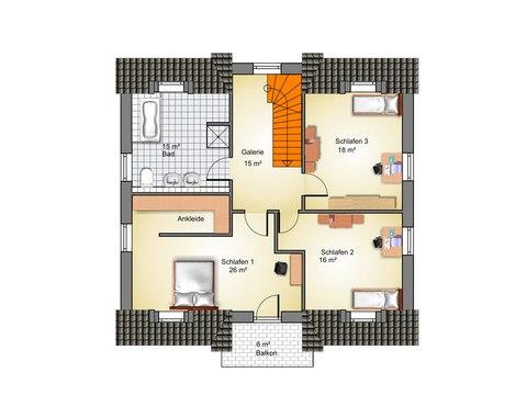 Haus Ahrenshoop Grundriss OG - IBIS Haus