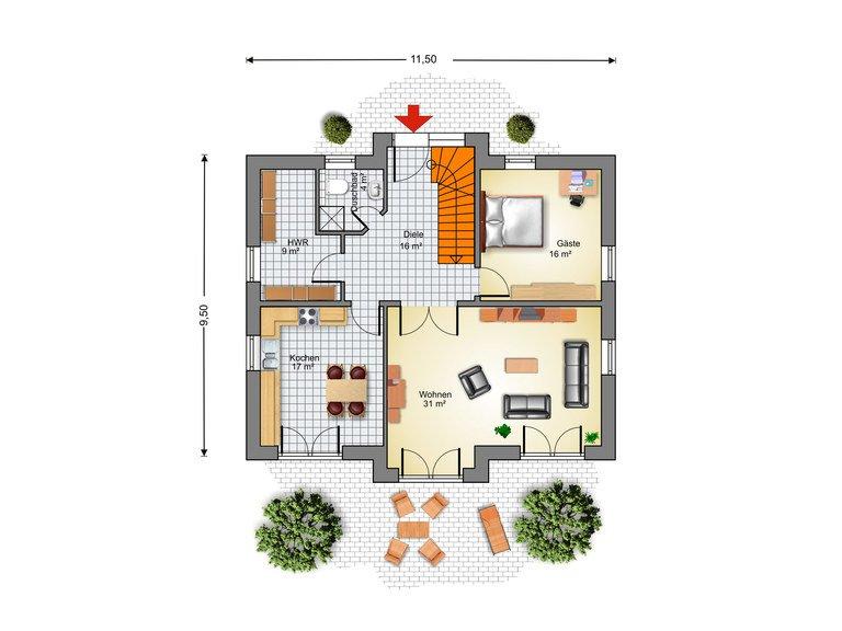 Haus Ahrenshoop Grundriss EG - IBIS Haus