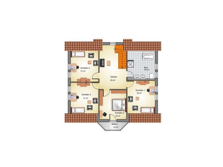 Stadthaus Ribnitz Grundriss DG - IBIS Haus