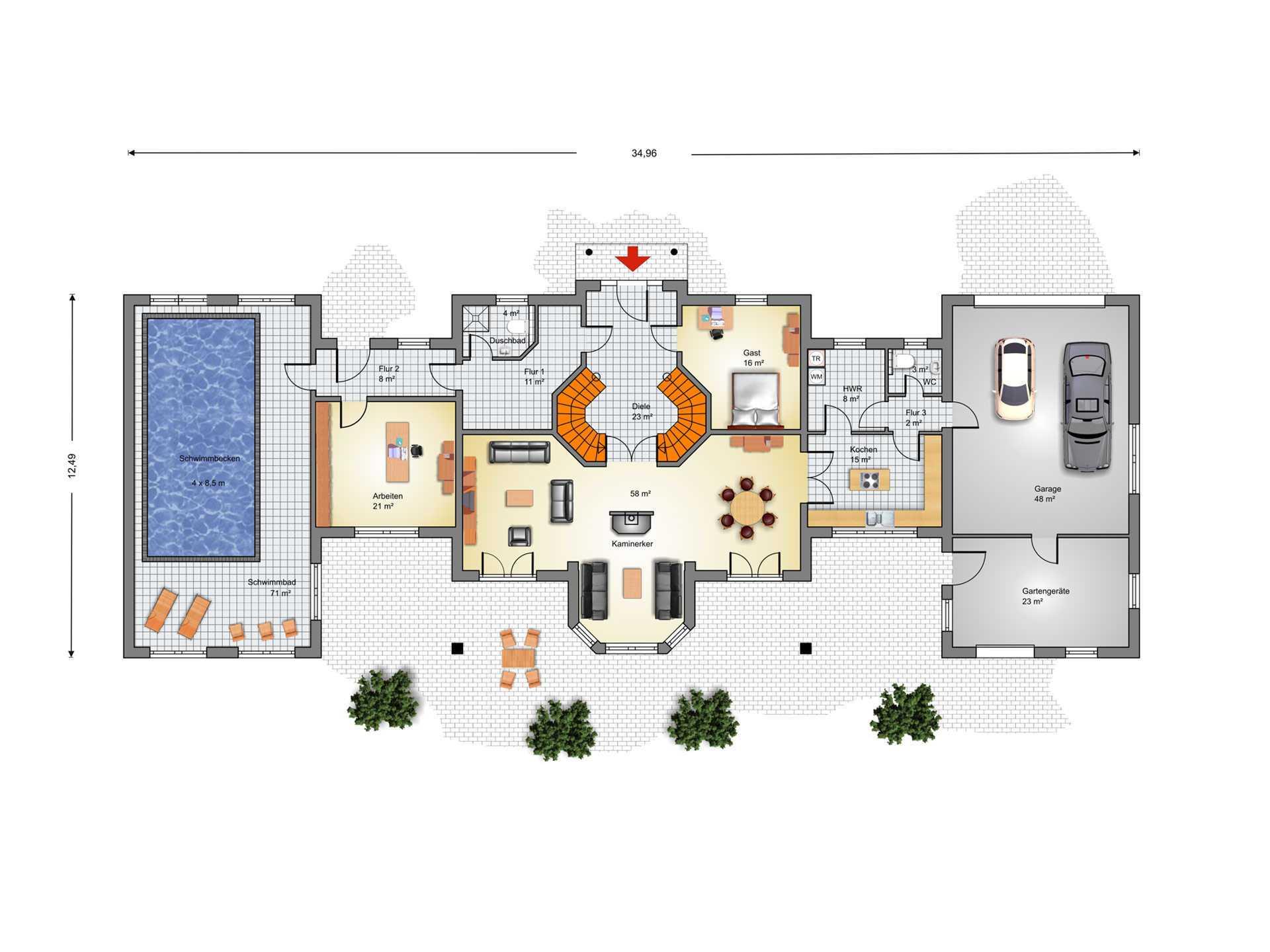 Grundriss villa mit garage  Villa Warnemünde - IBIS Haus