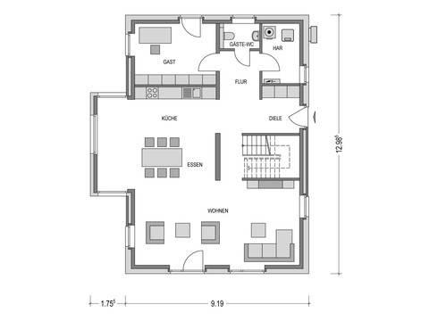 Stadtvilla ARCUS WD.300.2 Grundriss EG von Heinz von Heiden
