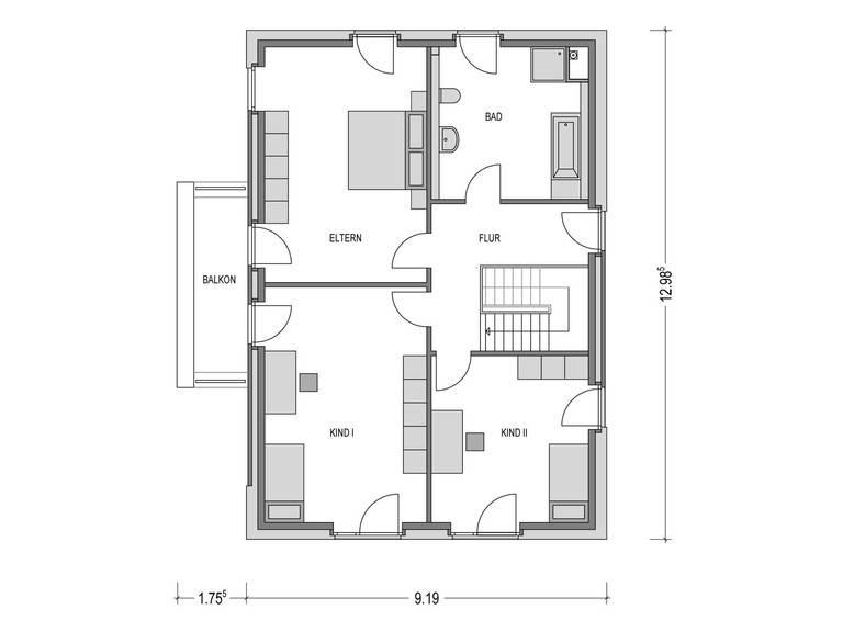 Stadtvilla ARCUS WD.300.2 Grundriss OG von Heinz von Heiden