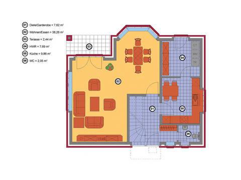 Haus Krüppelwalmdach 131 Baerwolf Bauregie Grundriss Erdgeschoss
