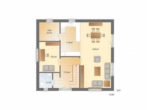 1Liter-Haus Stockholm - Danhaus Grundriss EG