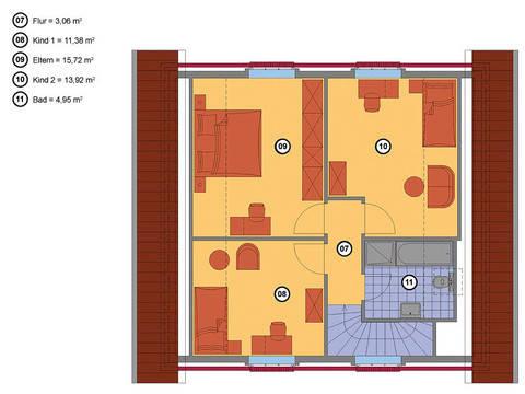 Grundriss Dachgeschoss Krüppelwalmdachhaus 125