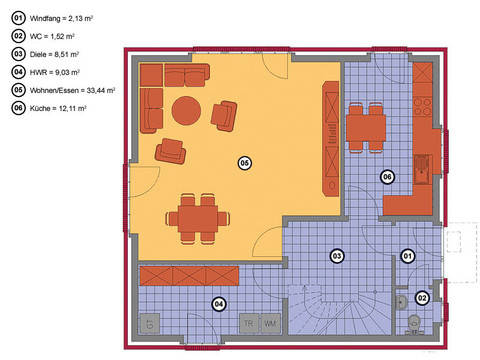 Grundriss Erdgeschoss Krüppelwalmdachhaus 125
