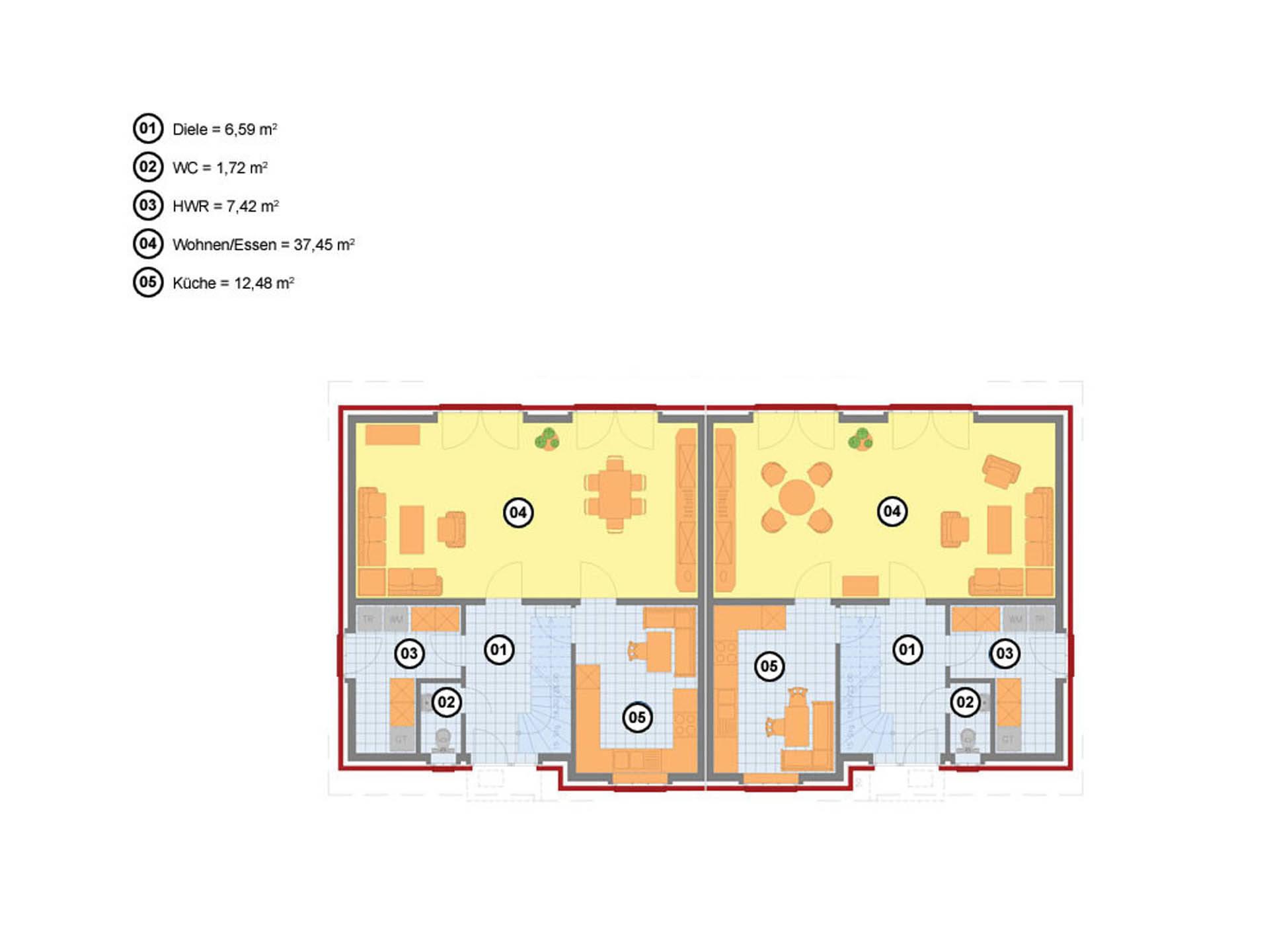 Doppelhaus 123 Baerwolf Bauregie Grundriss Erdgeschoss