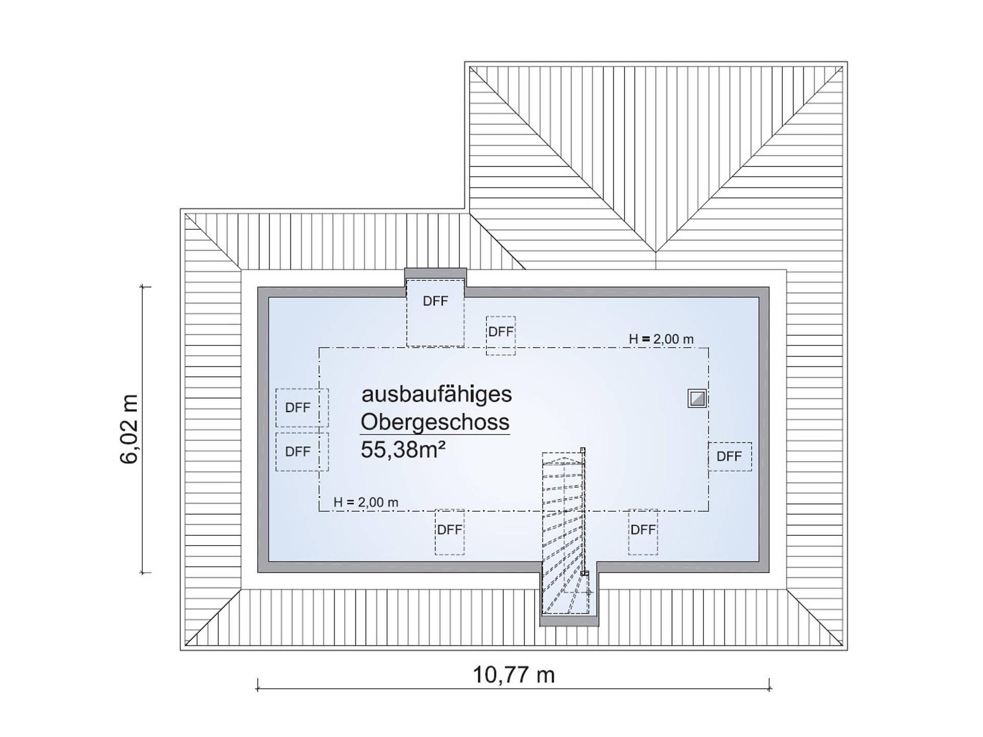 Grundriss OG Bungalow SH 115 WB plus 50 von ScanHaus