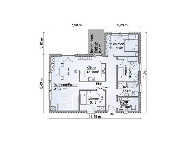 Grundriss Bungalow SH 115 WB von ScanHaus