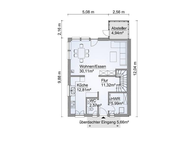 Grundriss EG Doppelhaus SH 122 DHH Edition von ScanHaus