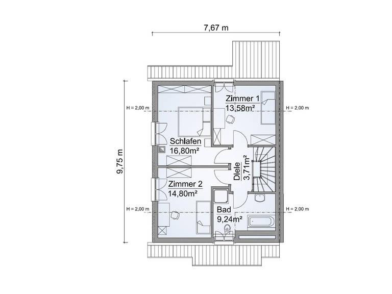 Grundriss OG Doppelhaus SH 122 DHH Edition von ScanHaus