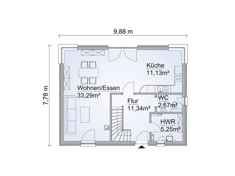 Grundriss EG Haus SH 122 FS Variante B von ScanHaus