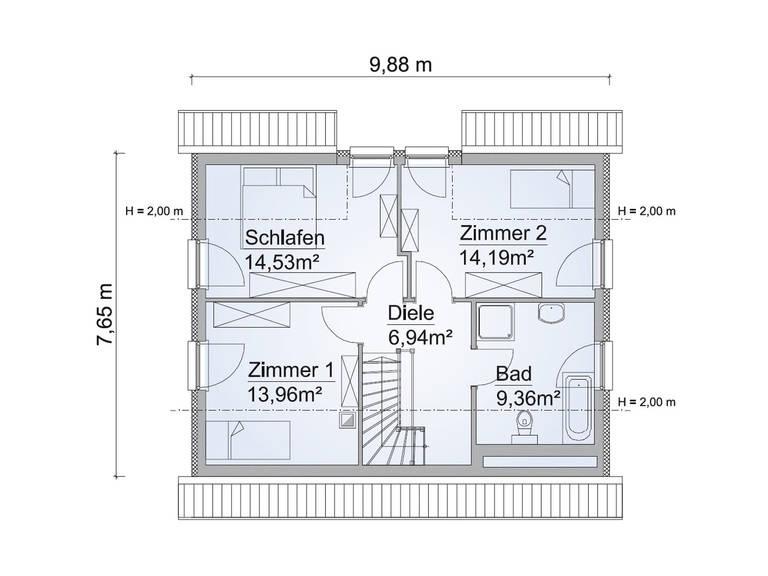 Grundriss OG Haus SH 122 FS Variante B von ScanHaus