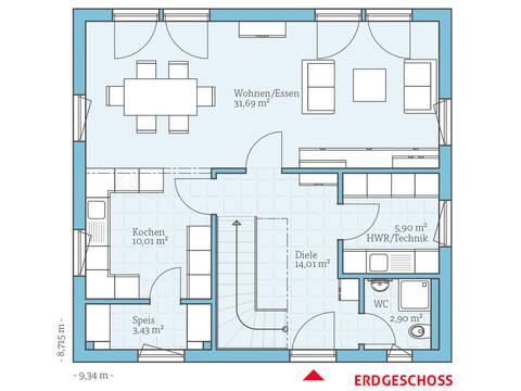 Hanse Haus Villa 134 Grundriss EG