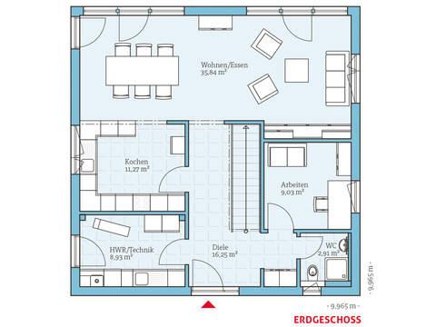 Hanse Haus Cubus 167 Grundriss EG