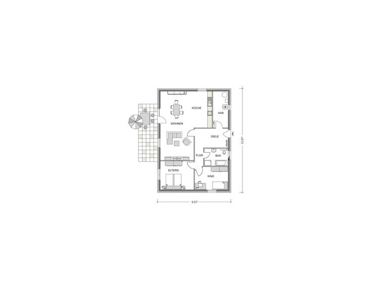 Grundriss Erdgeschoss Bungalow GGB02