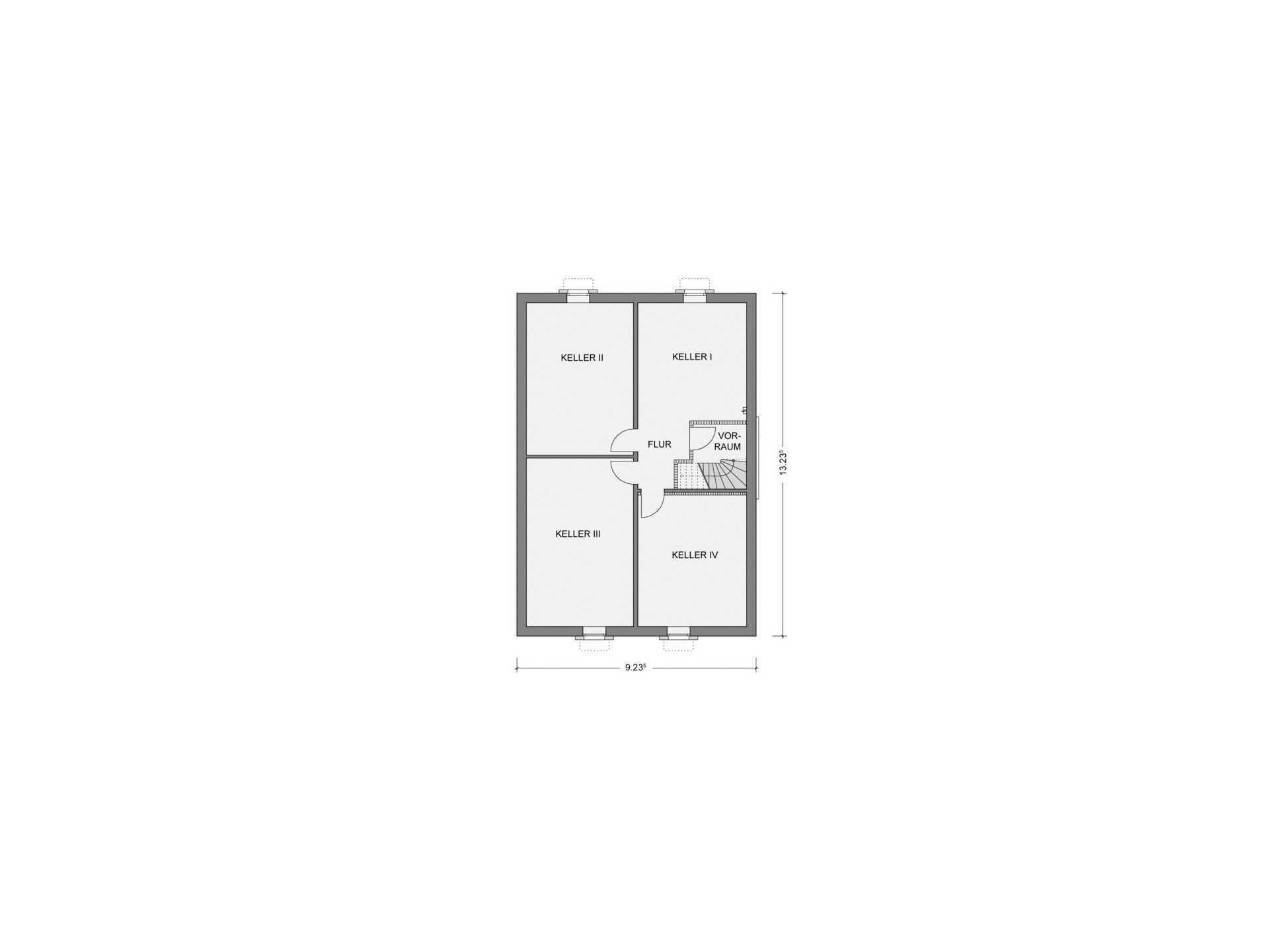 Grundriss Kellergeschoss Bungalow GGB02
