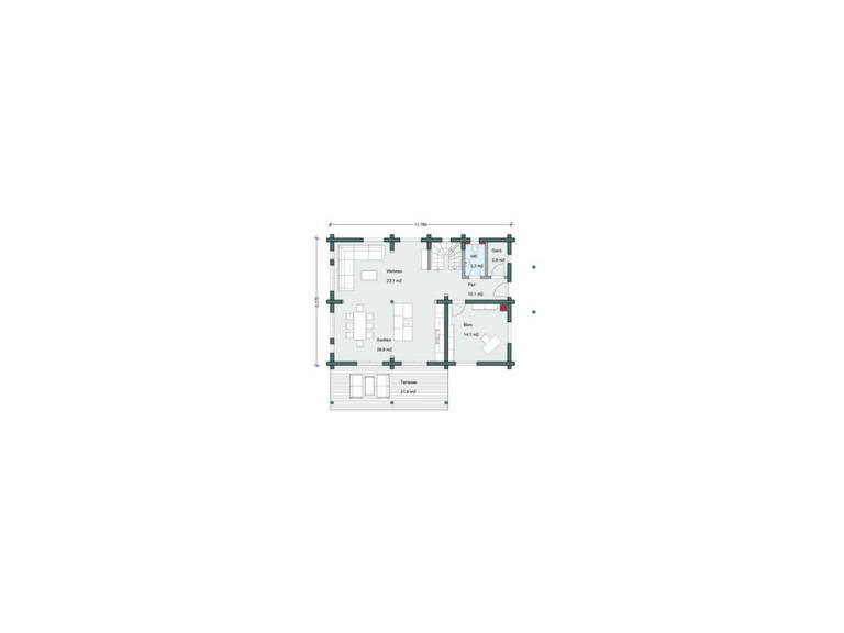 Haus Alpine Chalet von Honka Blockhaus Grundriss Erdgeschoss