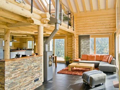 Haus Alpine Chalet von Honka Blockhaus Ansicht Wohnzimmer