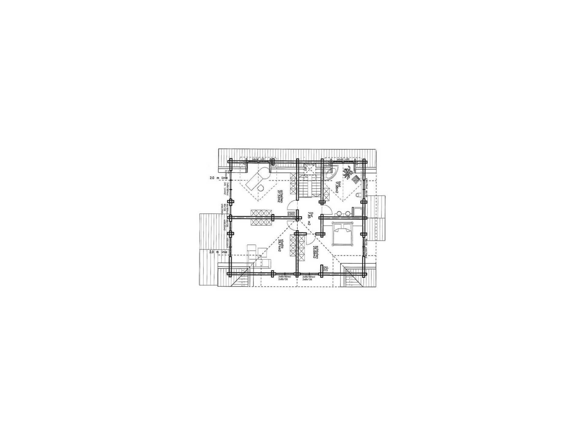Haus Rheinland von Honka Blockhaus, Grundriss Dachgeschoss