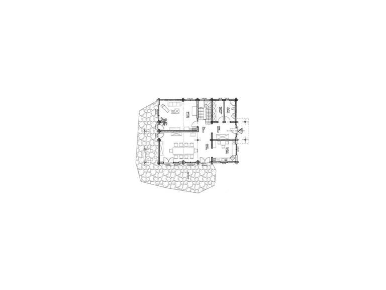 Haus Rheinland von Honka Blockhaus, Grundriss Erdgeschoss