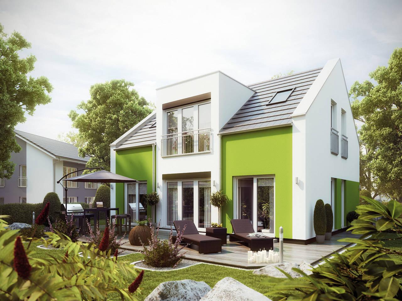 Aussenansicht auf das Haus PURE 4 V2 von der Baufirma massa haus