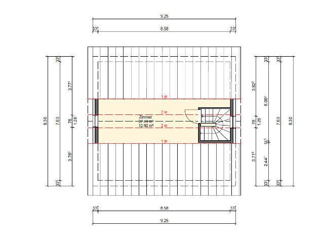 SR-System,Einfamilienhaus 1, Grundriss Dachgeschoss