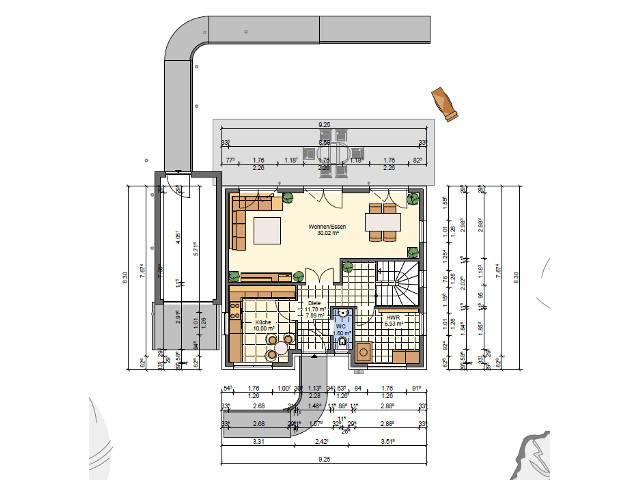 SR-System,Einfamilienhaus 1, Grundriss Erdgeschoss