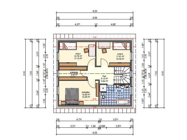 SR-System,Einfamilienhaus 1, Grundriss Oberschoss