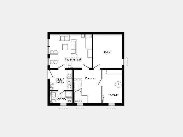 Grundriss Kellergeschoss Kundenhaus - Plan 445.26