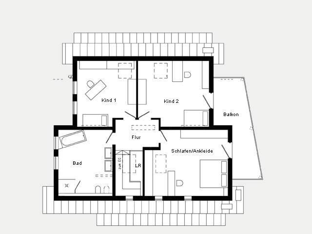 Grundriss Dachgeschoss Musterhaus Bad Vilbel