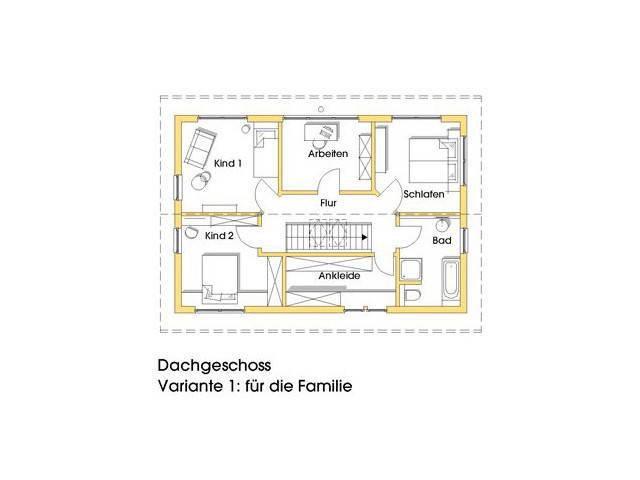 Haus Anke Grundriss Obergeschoss Variante 1