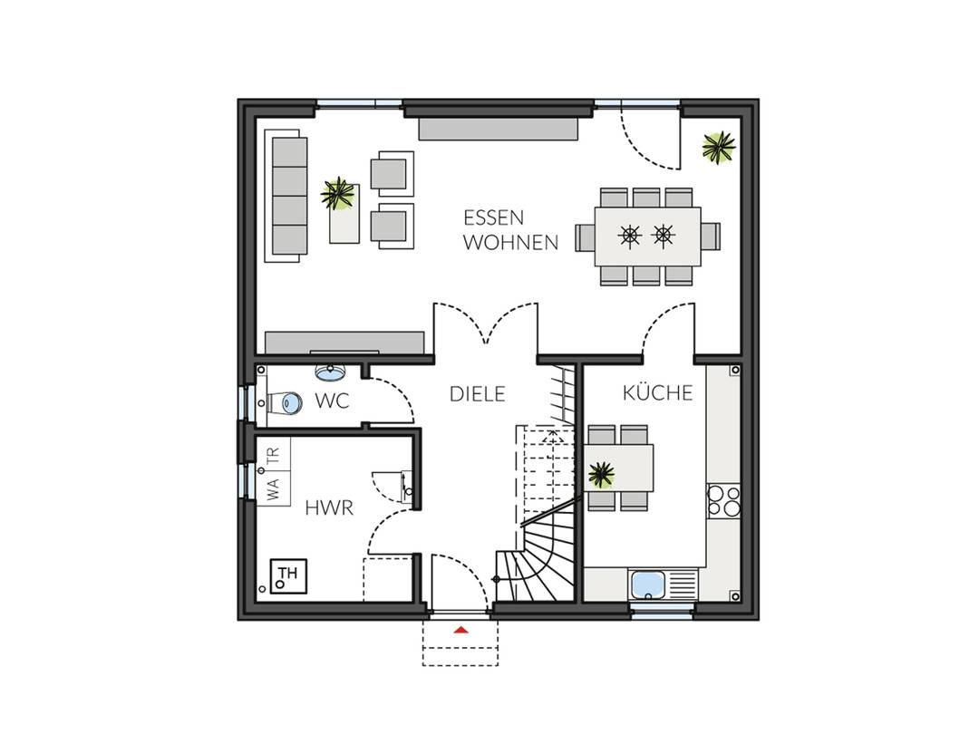 Haus BasicLine 123-1-6 Grundriss EG