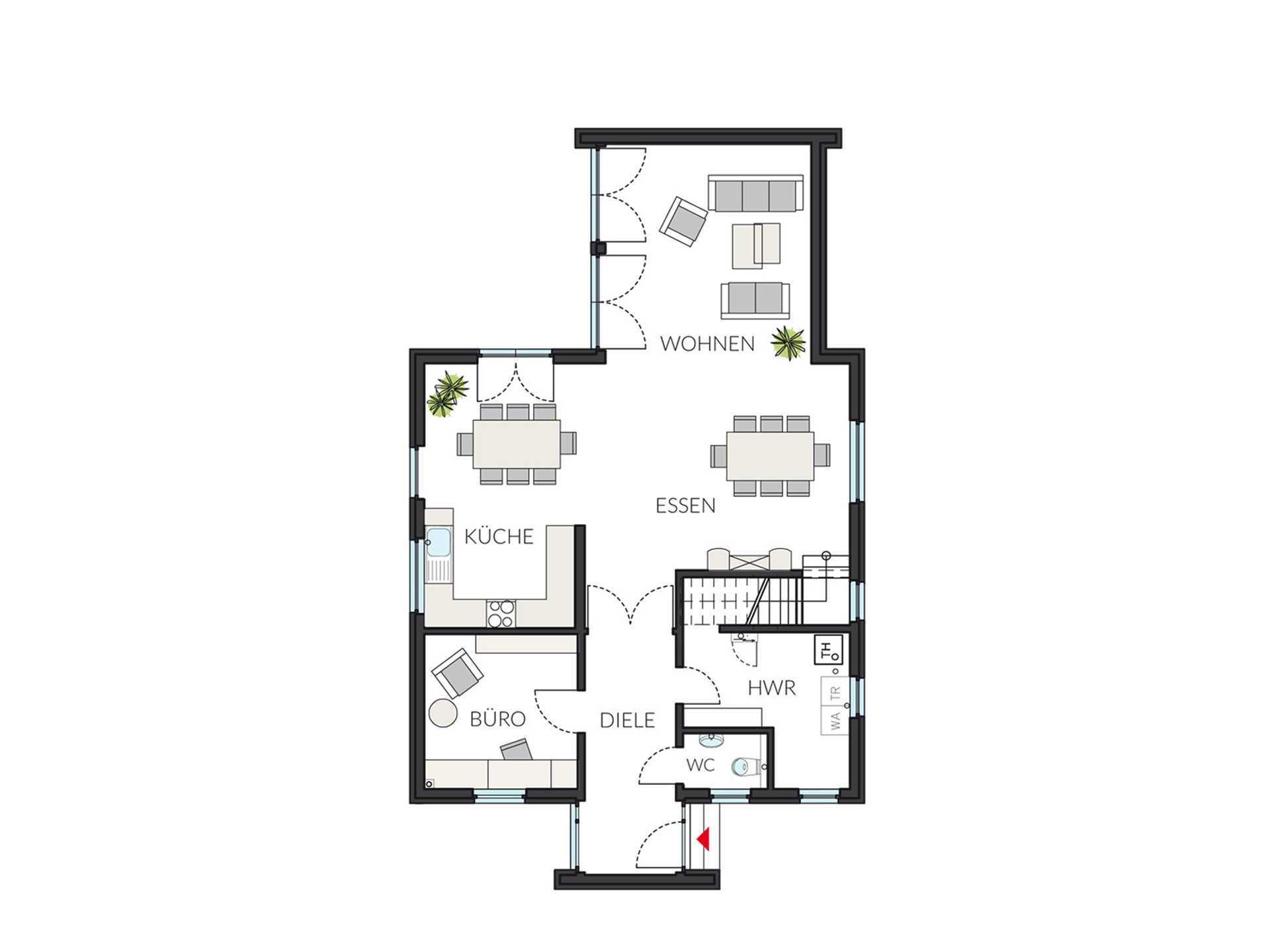 Grundriss Erdgeschoss ProCubus 142 von ProHaus