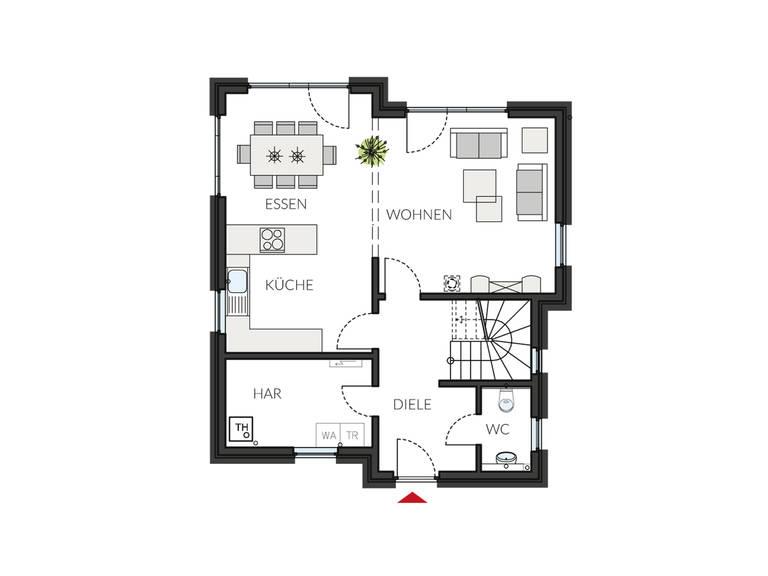Pultdachhaus ProStyle 132 Grundriss EG