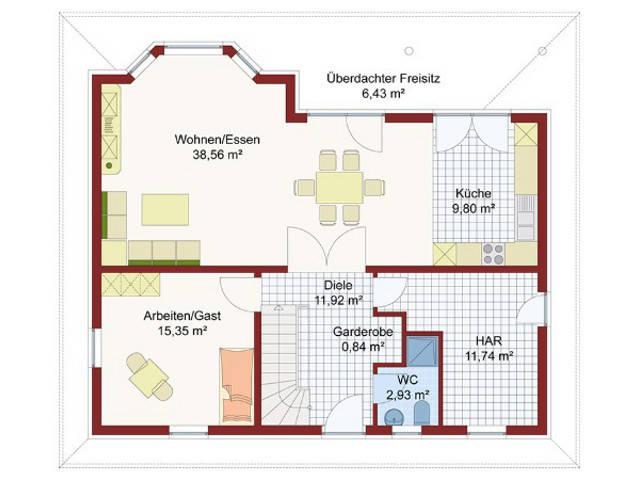 Haus Florenz Grundriss Erdgeschoss