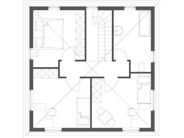 Stadtvilla Ambiente Grundriss Dachgeschoss