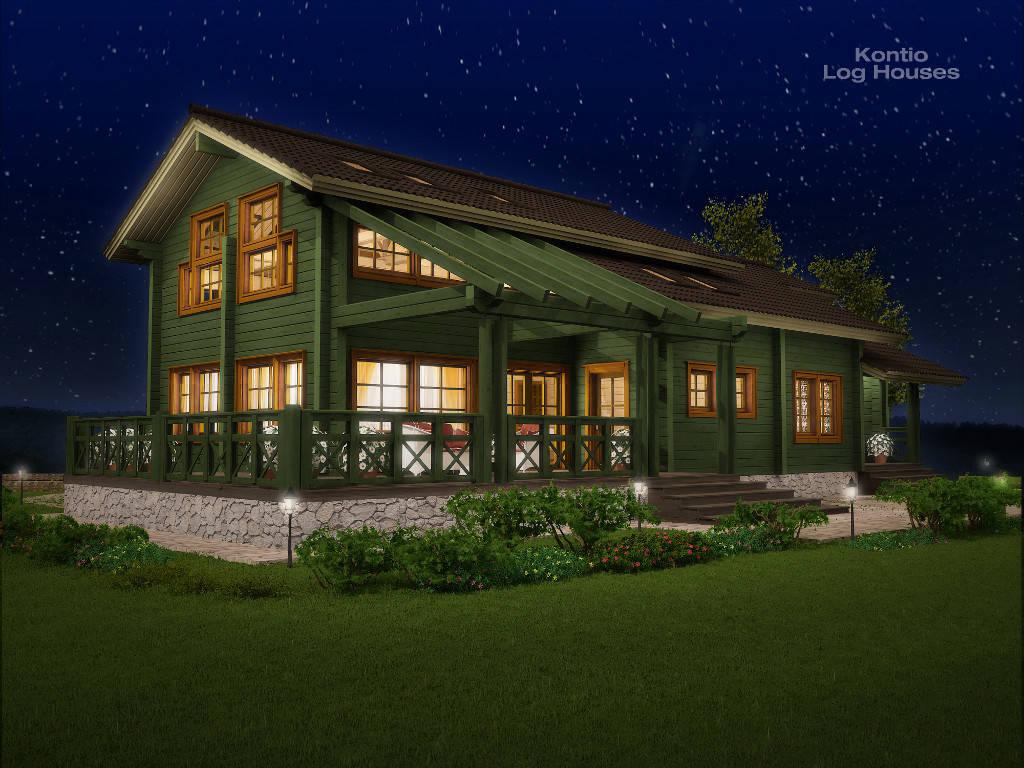 Haus Alliaria von Woody-Holzhaus bei Nacht