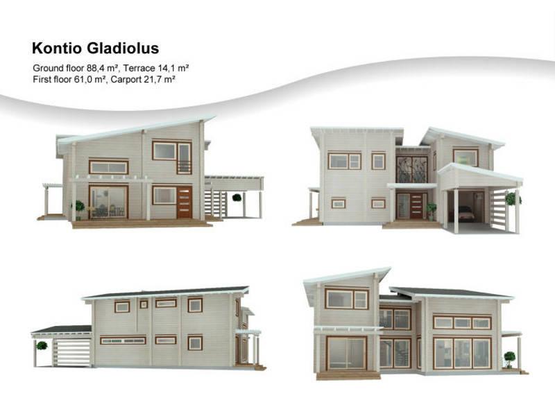 3D-Ansicht des Haus Gladiolus von Woody-Holzhaus