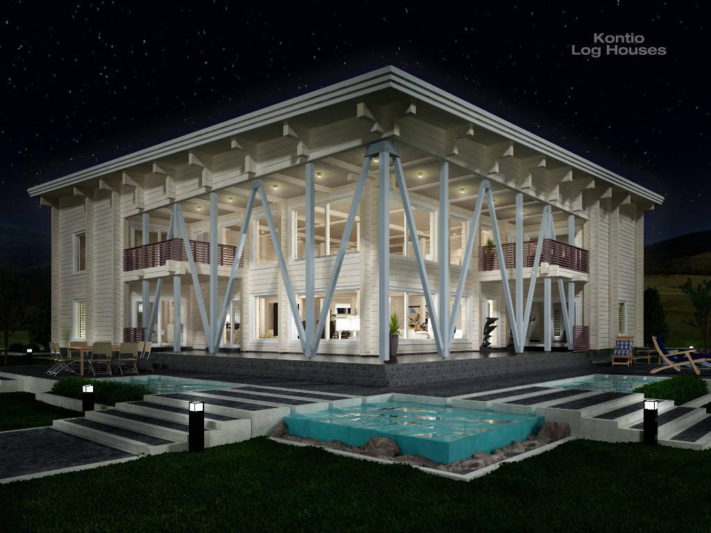 Laminaria 3 von Woody-Holzhaus bei Nacht