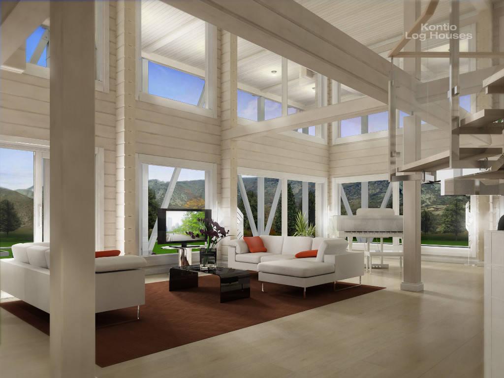 Wohnzimmer Variante A des Laminaria 3 von Woody-Holzhaus