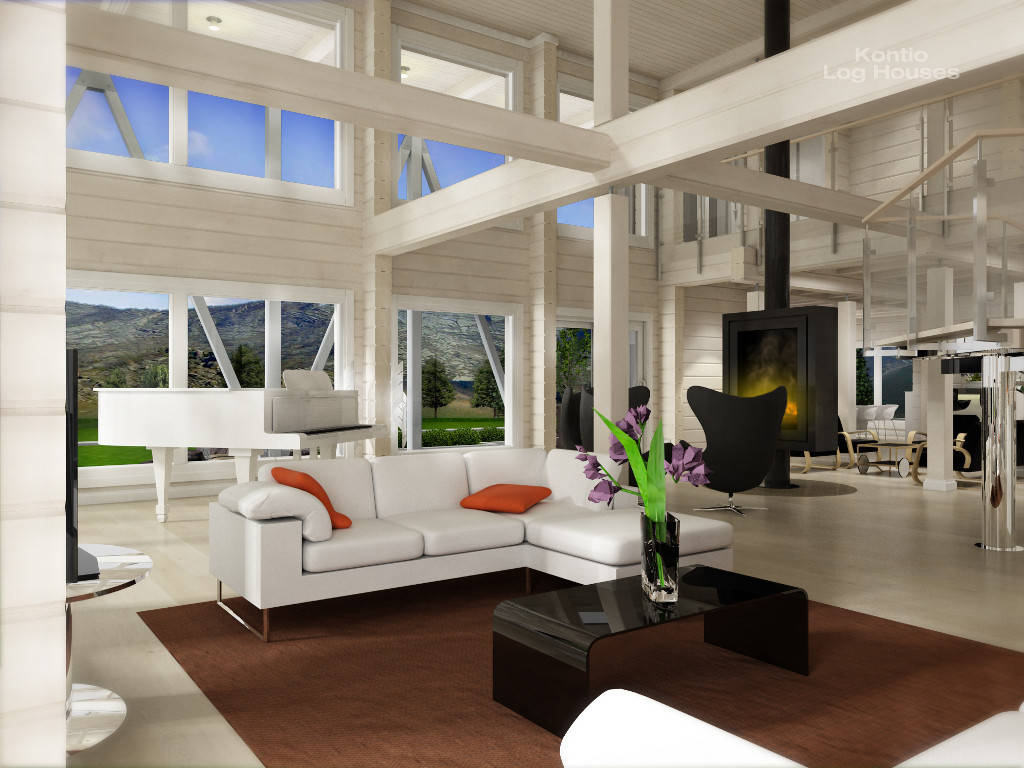 Wohnzimmer Variante B des Laminaria 3 von Woody-Holzhaus