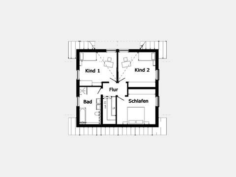 Schlafzimmer Effizienzhaus Hausidee 412.72 Grundriss OG