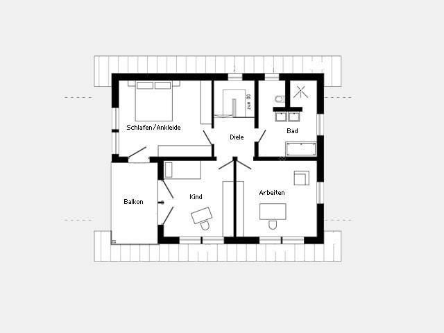 Grundriss Dachgeschoss Effizienzhaus Plan 679.2