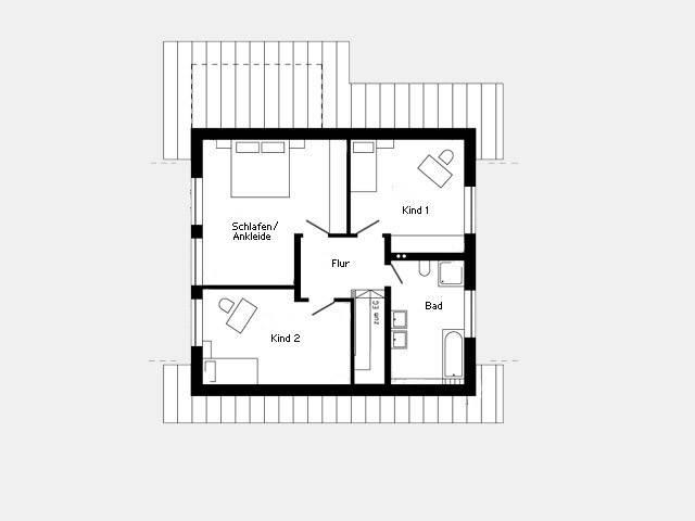Grundriss Dachgeschoss Musterhaus Oberstetten 412.28