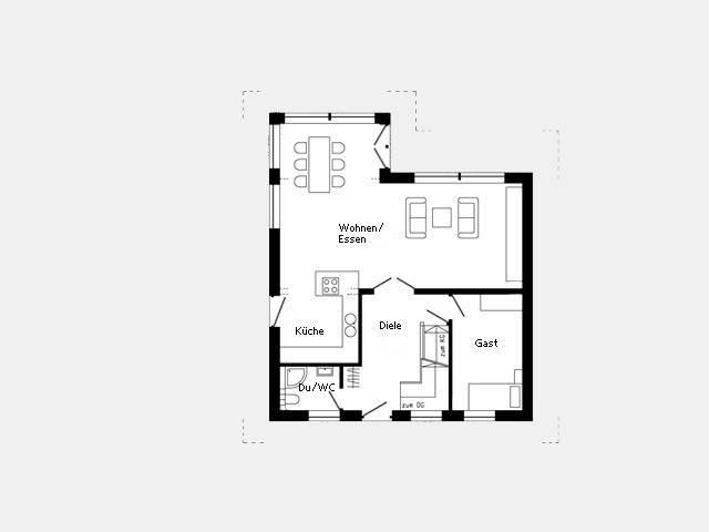 Grundriss Erdgeschoss Musterhaus Oberstetten 412.28