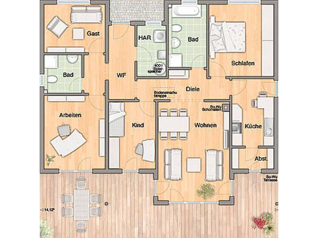 Grundriss Bungalow 128 von Harr Massivhaus - Town & Country Haus